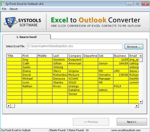 Convert and move Excel to Outlook contacts